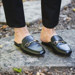 Merona gucci style black slip on mules